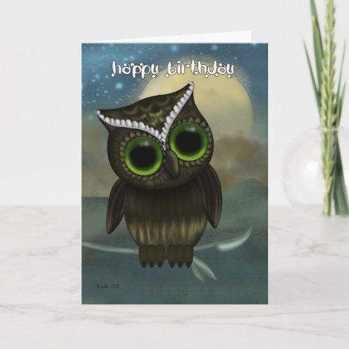 Owl Birthday Greeting Card, Fantasy Night Owl Card