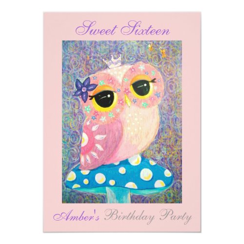Owl Fairy Princess Sweet Sixteen Birthday Party Invitation