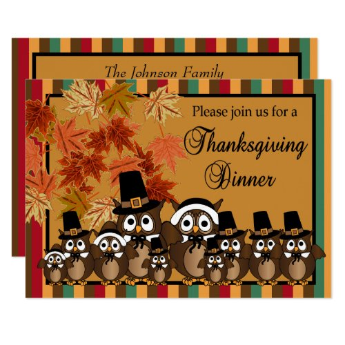 Owl Family Thanksgiving Turkey Dinner Invitation