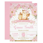 Owl Floral Baby Shower Invitation Girl