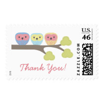Owl Trio Thank You Postage Stamp Sticker