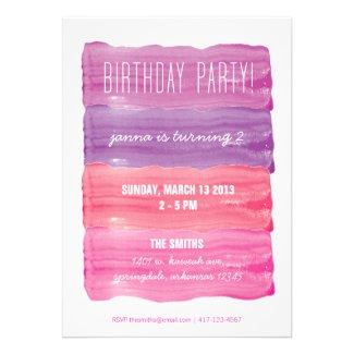 Paint Strokes Girls Birthday Party Custom Invitation