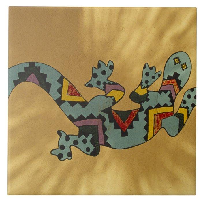 painted gecko lizard on wall tucson arizona tile zazzle com