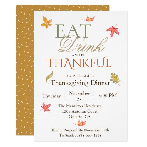 Painted Leaves Thanksgiving Dinner Invitation