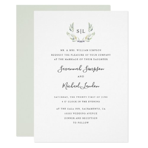 Painted Olive and leaves formal monogram wedding Invitation