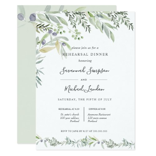 Painted Olive and leaves green  Rehearsal Dinner Invitation