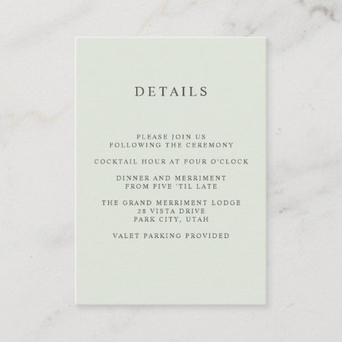 Painted Olive  WEDDING Hotel detail Accommodation Enclosure Card