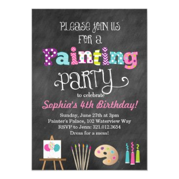 Painting Art Party Chalkboard Style Invitation