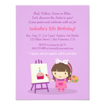 Painting Arts Crafts Birthday Party Invitations