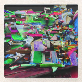 painting Scraps Photo Digital Art Glass Coaster