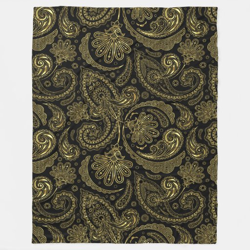 Black And Gold Material Fleece Blankets