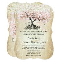 Pale Dogwood Heart Leaf Tree Gold Wedding Invites