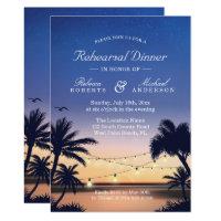 Palm Beach Sunset String Lights Rehearsal Dinner Card