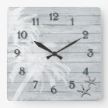 Palm Trees and Starfish on Rustic Wooden Bkg Beach Square Wall Clock