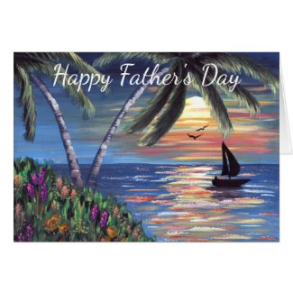 Palm Trees Sunset Ocean Painting Father's Day Card