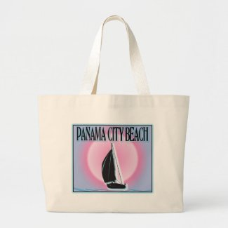 Panama City Beach Airbrushed Look Boat Sunset Canvas Bags