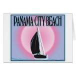 Panama City Beach Airbrushed Look Boat Sunset cards