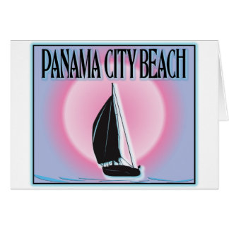 Panama City Beach Airbrushed Look Boat Sunset Greeting Card