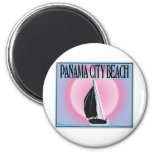 Panama City Beach Airbrushed Look Boat Sunset magnets