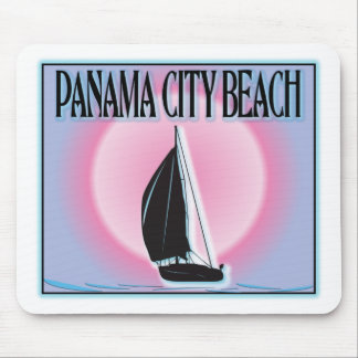 Panama City Beach Airbrushed Look Boat Sunset Mousepad