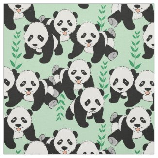Panda Bears Graphic Pattern Fabric