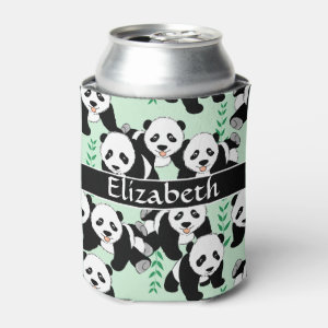 Panda Bears Graphic to Personalize Can Cooler