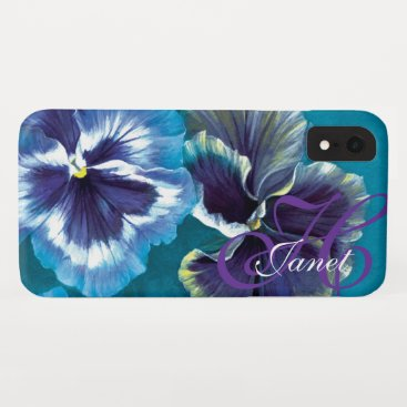 Pansy floral aqua your name iphone case