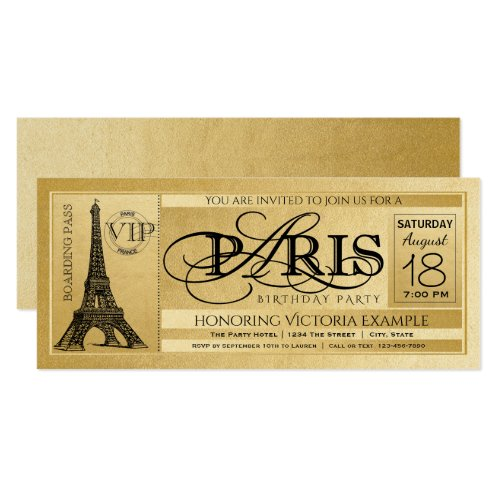 Paris Birthday Party Invitation Gold Paris Ticket