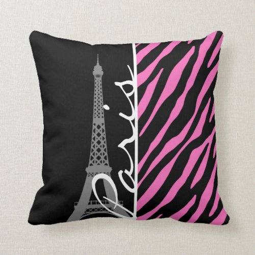 Paris; Pink & Black Zebra Print Pillow