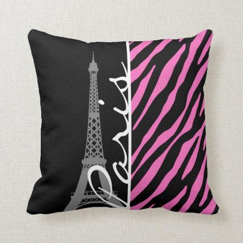 Paris; Pink & Black Zebra Print Pillow