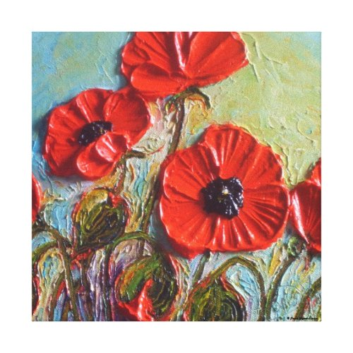 Paris' Red Poppies Gallery Wrap Canvas Print wrappedcanvas