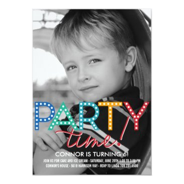 Party Time Photo Birthday Invitation