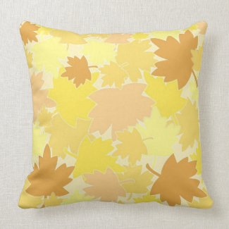 Pastel autumn leaves throw pillows