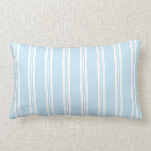 Pastel Blue Scotch Rule Ticking Stripe Lumbar Pillow