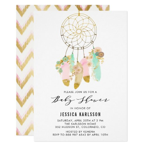 Pastel Dreamcatcher Faux Gold Foil Baby Shower Invitation