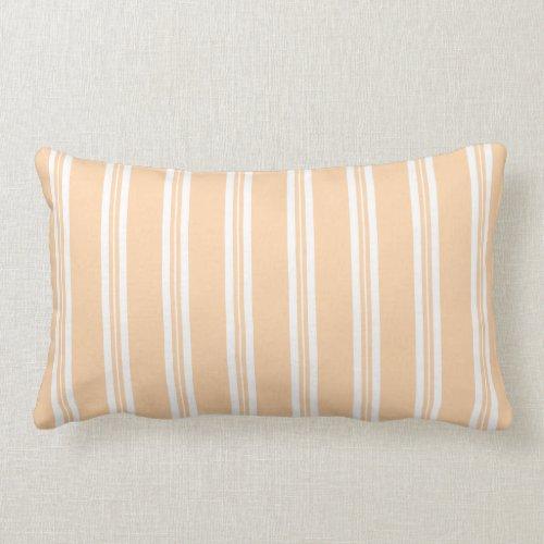 Pastel Orange Scotch Rule Ticking Stripe Lumbar Pillow