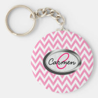 Pastel Pink Chevron Monogram Basic Round Button Keychain