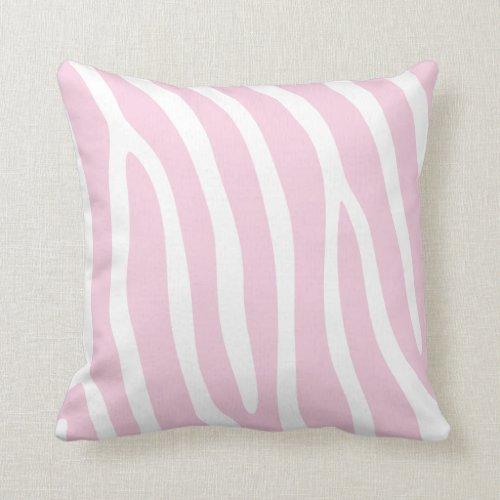 Pastel Pink Zebra Stripes Throw Pillow