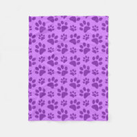Pastel purple dog paw print fleece blanket