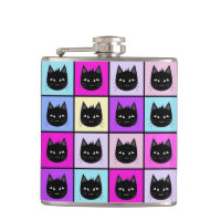Pastel Rainbow Cat Pattern Flask