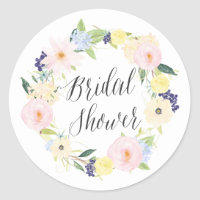 Pastel Spring Floral Wreath Bridal Shower Stamp Classic Round Sticker