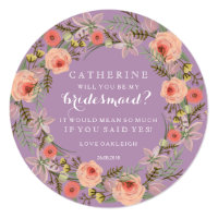 Pastel Wreath Will You Be My Bridesmaid | Lilac Invitation