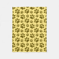 Pastel yellow dog paw print pattern fleece blanket