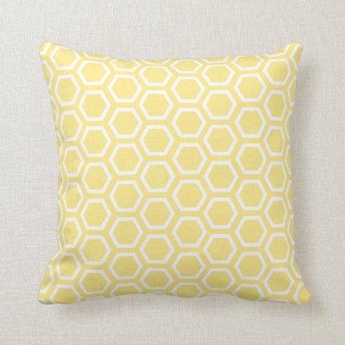 Pastel Yellow Honeycomb Pattern Throw Pillow