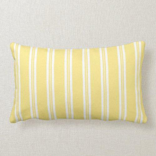 Pastel Yellow Scotch Rule Ticking Stripe Lumbar Pillow