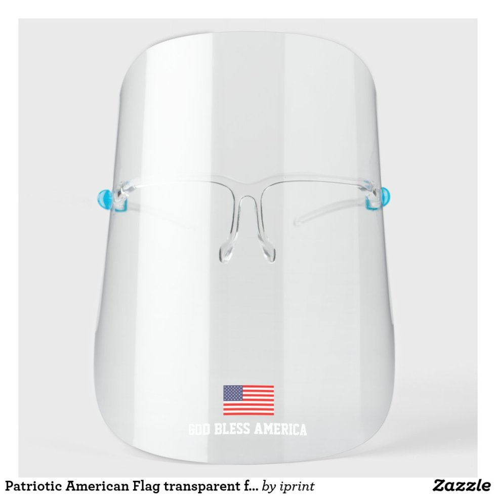 Patriotic American Flag Transparent Face Shield