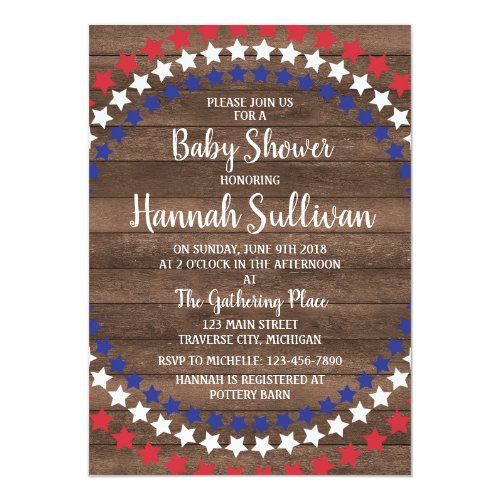 Patriotic Stars Rustic 4th of July Baby Shower Card