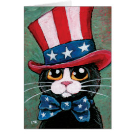 Patriotic Tuxedo Cat | Happy 4th of July Greeting Card