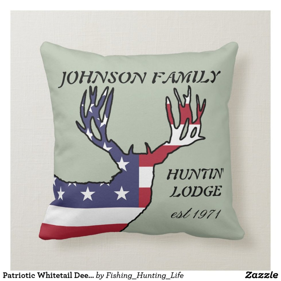 Patriotic Whitetail Deer Hunting Lodge Throw Pillow