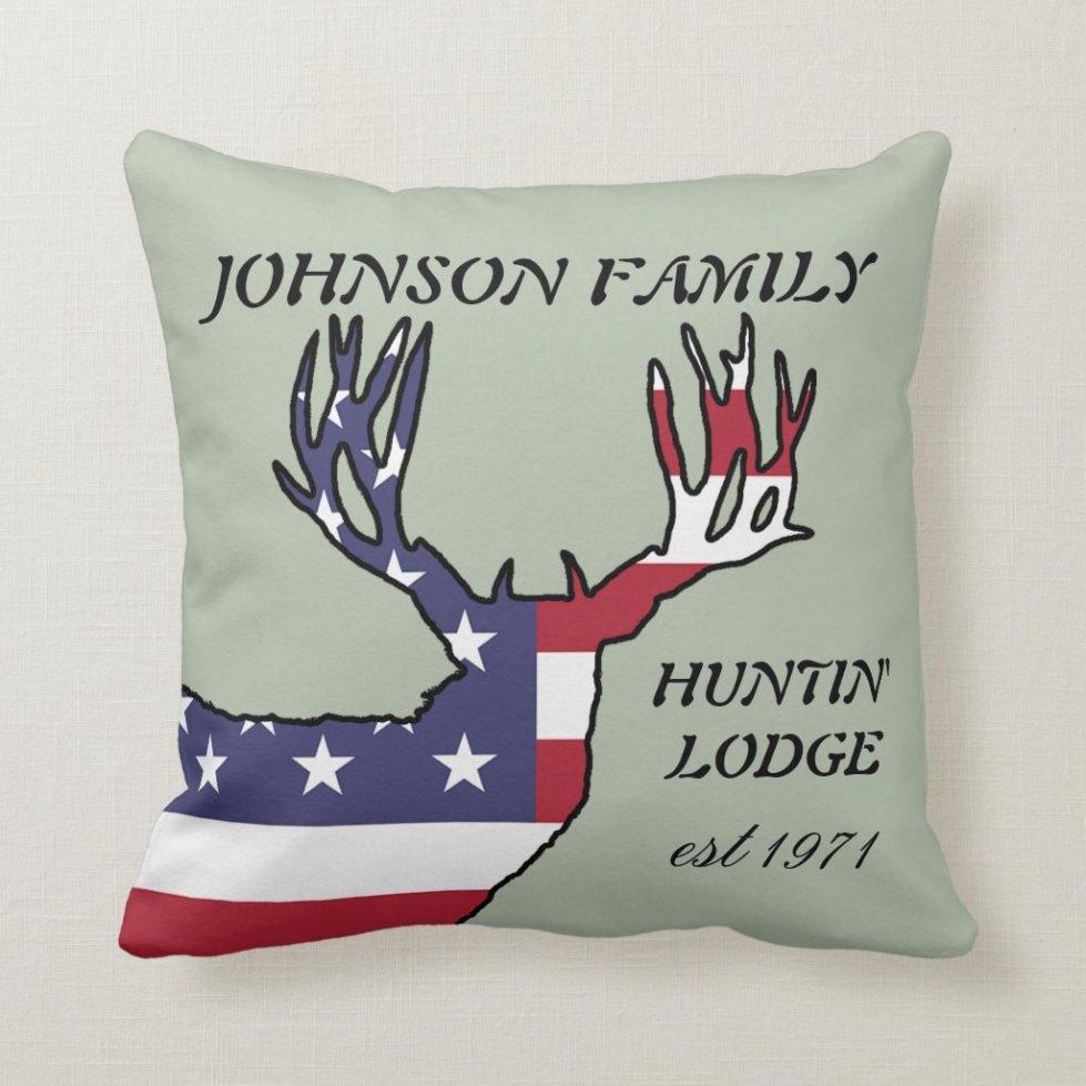 Patriotic Whitetail Deer Hunting Lodge Throw Pillow